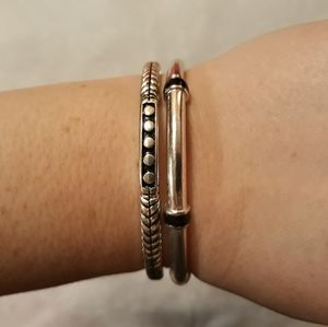 Pair of Silver and Black Bangle Bracelets
